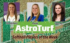 YHC's Stooksbury, NG's Poole, and GC's Coursey Named AstroTurf Softball Players of the Week