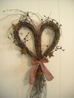 Heart Twig Wreath With Rusty Stars by QuarrylandCrafts on Etsy, $15.99