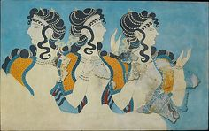 """Reproduction of the """"Ladies in Blue"""" fresco. Emile Gilliéron fils, 1927.  Original on painted plaster (ca. 1525–1450 B.C.). - See more at: http://www.ancient-origins.net/news-general/metropolitan-museum-releases-thousands-ancient-images-public-domain-001664#sthash.aaq1MivI.dpuf"""