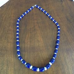 Blue And White Bead Necklace.