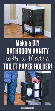 Get the FREE plans for this unique DIY bathroom vanity. It has a shelf for towels, a drawer that opens to reveal a small table and a hidden toilet paper holder! Diy Bathroom Vanity, Diy Vanity, Bathroom Storage, Hall Bathroom, Bathroom Ideas, Diy Furniture Easy, New Furniture, Furniture Ideas, Furniture Vanity