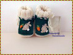 Strick- & Häkelschuhe - Babyschuhe Merino HASE 10 cm - ein Designerstück von Hexenpott bei DaWanda