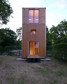 The compact home is spread across three levels, all of equal height
