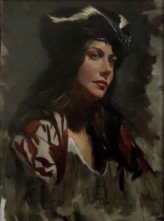 "Saatchi Online Artist Michael Foulkrod; Painting, ""girl with skunk hat"" #art"