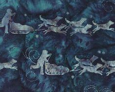 Hoffman Fabrics Teal Blue Dog Musher Bali Batik Fabric G2208-21-Teal