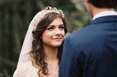 A Delicate Tuscan Inspired Outdoor Wedding crown vintage veil bride romantic simple antique