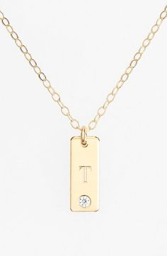 Women's Lola James Jewelry Rectangular Initial Pendant Necklace - Gold - T