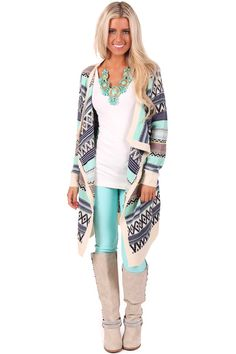 Lime Lush Boutique - Navy and Mint Long Stripe Detailed Cardigan, $39.99 (http://www.limelush.com/navy-and-mint-long-stripe-detailed-cardigan/)