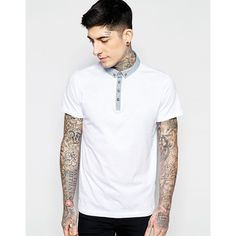 Brave Soul Contrast Chambray Collar Polo Shirt (23 CAD) ❤ liked on Polyvore featuring men's fashion, men's clothing, men's shirts, men's polos, white, mens white button down collar shirts, mens tall shirts, mens white shirt, mens chambray shirt and mens white polo shirt