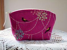 Cosmetic Bag Clutch Purse Echino Bird on Beads in Raspberr by antiquebasketlady, via Flickr