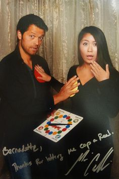 """OMC!! Misha wrote: """"Bernadette,...Thanks for letting me cop a feel.   Misha Collins"""" -- LMABO!! XD"""