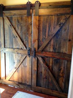 DIY barn door can be your best option when considering cheap materials for setting up a sliding barn door. DIY barn door requires a DIY barn door hardware and a Diy Barn Door, Barn Door Hardware, Door Latches, Rustic Hardware, Rustic Doors, Wood Doors, Wooden Barn Doors, Barn Door Designs, Double Barn Doors