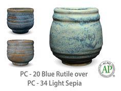 AMACO Potter's Choice layered glazes PC-34 Light Sepia and PC-20 Blue Rutile.