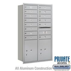 4C Horizontal Mailbox (Includes Master Commercial Locks) - 13 Door High Unit (48 Inches) - Double Column - 14 MB1 Doors / 2 PL5's - Aluminum - Rear Loading - Private Access by Salsbury Industries. $1012.50. 4C Horizontal Mailbox (Includes Master Commercial Locks) - 13 Door High Unit (48 Inches) - Double Column - 14 MB1 Doors / 2 PL5's - Aluminum - Rear Loading - Private Access - Salsbury Industries - 820996411129. Save 10% Off!
