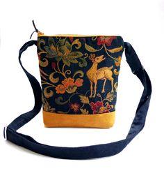 Boho crossbody bag medieval handbag black tan purse by maplemist