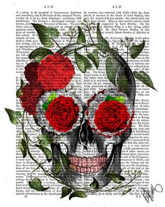 Skull With Roses and Vines  skull Illustration by DottyDictionary, $15.00