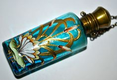 "Antique Art Nouveau Bohemian ""Moser"" Hand Enameled And Gilded Glass Perfume/Scent Chatelaine Bottle c. Bottle Vase, Bottles And Jars, Glass Bottles, Belle Epoque, Antique Perfume Bottles, Vintage Bottles, Art Nouveau, Beautiful Perfume, Art Moderne"