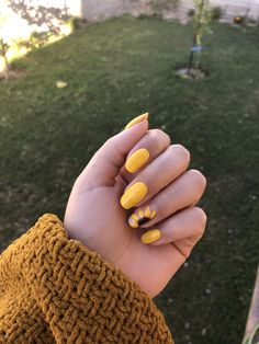 Installation of acrylic or gel nails - My Nails Summer Acrylic Nails, Best Acrylic Nails, Summer Nails, Spring Nails, Sunflower Nail Art, Yellow Nails Design, Yellow Nail Art, Nagellack Design, Aycrlic Nails