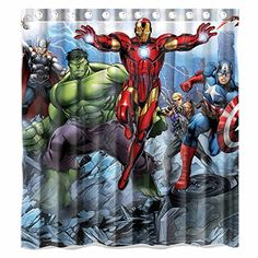 Custom Avengers Movie Incredible Hulk And Iron Man Characters Waterproof  Bathroom Shower Curtain Polyester Fabric Shower