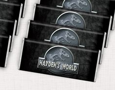 Jurassic World Birthday Party Ideas - Personalized candy bars for your dinosaur themed birthday party