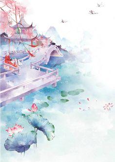 Flowers wallpaper watercolor 50 New Ideas Chinese Artwork, Chinese Painting, Japon Illustration, Art Asiatique, Art Japonais, China Art, Anime Scenery, Landscape Art, Japanese Art