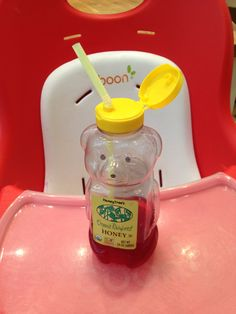 Cute easy sippy cup idea for an older toddler, just stick a straw in and poof! Great way to reuse those empty honey bears.