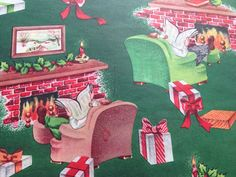 Vintage Christmas Wrapping Paper - For Him - Men Sitting Next to Fire with Paper and Presents - 1 Unused Full Sheet Christmas Gift Wrap