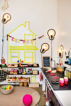 Children do not like complicated things for their rooms, usually something simple even easier for their loved including kids room decor of washi tape below Play Kitchens, Kids Play Spaces, Kids Rooms, Play Areas, Dorm Rooms, Kids Cafe, Kids Lighting, Lighting Ideas, Unique Lighting