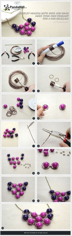 Jewelry Making with Wire and Bead - Make Your Own Pendant for a Bib Necklace #DIY