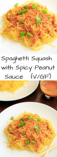 Spaghetti squash noodles with spicy peanut sauce make a delicious, gluten-free and vegan dinner that's easy to prepare!