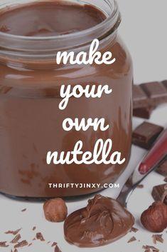Homemade Nutella Recipes, Homemade Chocolate, Chocolate Hazelnut, Nutella Chocolate, Homemade Breads, Homemade Food, Hazelnut Recipes, Nutella Spread, Nutella Cookies