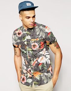 New Look Short Sleeve Shirt in Reverse Bright Floral