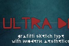 """Ultra DM font is a graffiti sketch typeface inspired by Depeche Mode's Ultra album. Ultra font can be used to give you modern aesthetics to your designs. Ultra DM fonts feature: - Formats: Open Type OTF, TrueType TTF, WebFont - Styles: Regular (Normal 400) - Glyphs: Basic Latin, Currency Need help or improvements? If you need improvements or advice on how to use this font please contact me by e-mail """"info@kreativfont.com"""" Open Type, Modern Aesthetics, Writing Styles, Glyphs, Branding Design, Graphic Design, Album, Script Fonts, Handwriting"""