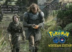 HAHA!!! Maisie Williams as Arya Stark and Rory McCann as Sandor Clegane, aka the Hound