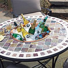 tile and outdoor table | BEER BUCKET - Tuscan Mosaic Tile Outdoor Patio Table | POPSUGAR Social