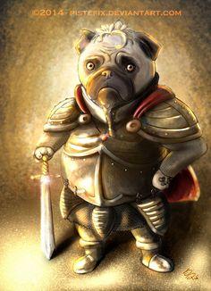 Pug Warrior by Pistefix.deviantart.com on @DeviantArt  #digitalpainting #digitalart #portrait #fantasy #knight #cute #pug #dog