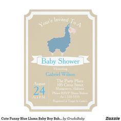 Cute Funny Blue Llama Baby Boy Baby Shower