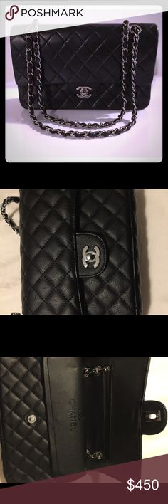CHANEL 🖤 Classic Flap Medium Bag Black Leather With Silver Hardware. Used & in Excellent Condition! 🖤 CHANEL Bags