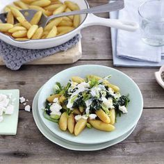 Schupfnudeln mit Spinat-Feta-Gemüse