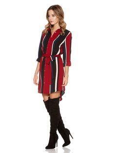 Wine Stripe Crepe Long Shirt Dress