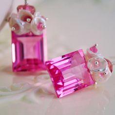 Pink Topaz Earrings Wedding Jewelry Genuine Ruby by livbridal