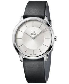 Calvin Klein minimal Men's Swiss Minimal Black Leather Strap Watch 40mm K3M211C6 - Black