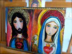 Pre- Order - Sacred Hearts of Jesus and Mary -  Fabric Print Reproduction Mounted On 11 x 14 inches Canvas - Folk Art  by FLOR LARIOS