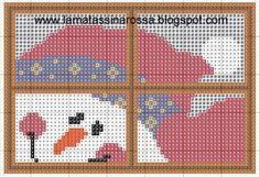 Free Snowman in Window Cross Stitch Pattern