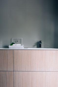 Bathroom furniture in oak and Corian Furniture, Corian, Kitchen Interior, Custom Kitchen, Bathroom Furniture, Interior, Cabinetry, Kitchen, Oak