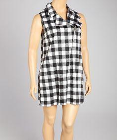 Love this Black & White Plaid Sleeveless Dress - Plus on #zulily! #zulilyfinds