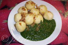 """Plněné bramborové knedlíky"" Czech Recipes, Ethnic Recipes, Snack Recipes, Snacks, Dumplings, Palak Paneer, Cheesecake, Food And Drink, Cheesecakes"