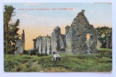Ruins of Ft. Fort Ticonderoga, Lake Champlain, Mount Rushmore, Mountains, History, Nature, Painting, Travel, Image