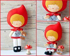 PDF. Red riding hood doll.  Plush Doll Pattern, Softie Pattern, Soft felt Toy Pattern.