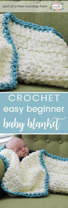 Crochet this easy beginner friendly boys baby blanket from Sewrella from my crochet baby blankets for boys free pattern roundup!